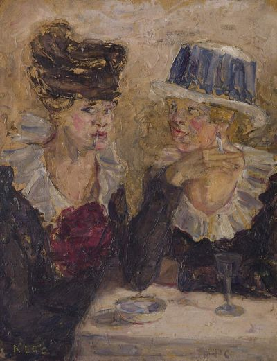"Kathleen O'Connor, ""Two cafe girls"", c.1914, oil on cardboard, 60 x 47.5 cm, private collection."
