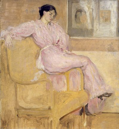 "Charles Conder, ""Mrs Conder in pink"", c.1901, oil on canvas, 48 x 44.3cm, New Walk Museum and Art Gallery, Leicester."