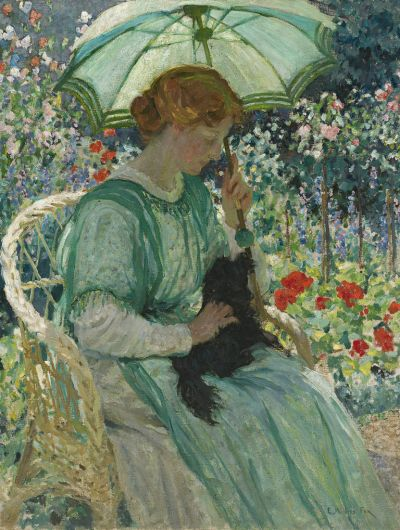 "E. Phillips Fox, ""The green parasol"", 1912, oil on canvas, 117 x 89.5cm, NGA."