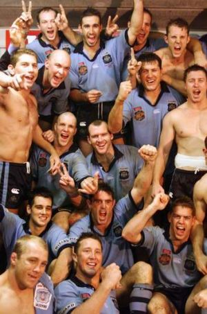 Free-spirited: The NSW team celebrates taking an unassailable 2-0 lead in the 2000 Origin series with a win in Brisbane.