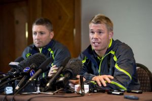 Australian cricketer David Warner and Captain Michael Clarke talk to the press at Royal Garden Hotel on June 13, 2013 in ...
