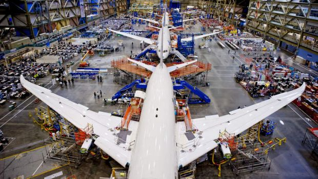 Creature comforts: Boeing's Dreamliner production line just outside Sattle. The plane boasts improved fuel efficiency ...