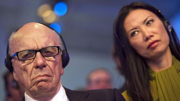 Rupert Murdoch and his wife Wendi Deng: Investors are taking news of their divorce calmly.