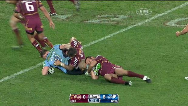 Disturbing trend: Anthony Watmough was the victim of leg-twists in Origin one.