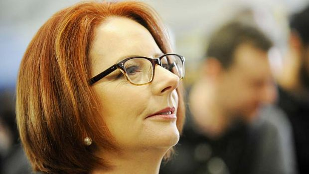 Past returns: a smiling photo of Julia Gillard is appearing alongside ALP media releases for Gmail users.