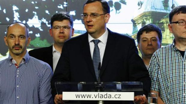 Victim of scandals: Czech Prime Minister Petr Necas announces his resignation at a news conference at the government ...