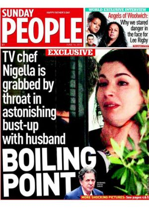 How Sunday People reported the story of Charles Saatchi choking Nigella Lawson.
