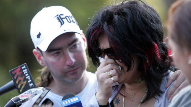 Guilty of murder ...  Kristi Anne  Abrahams, with Robert Smith, speaks to the media when Kiesha went missing in 2010.