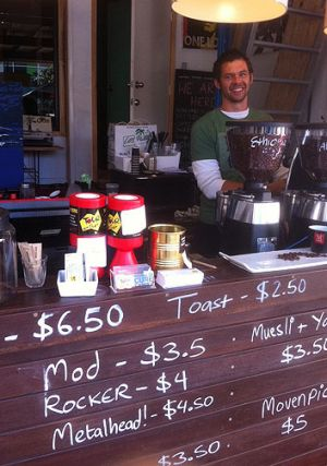 The Race Cafe in Fortitude Valley, owned by  music producer and entrepreneur Paul Gordon, who sells coffee up front and ...