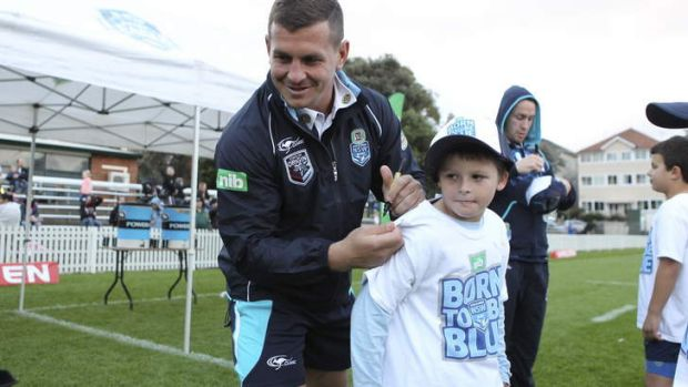 Greg Bird signs autographs after a training session at Coogee Oval on Monday.
