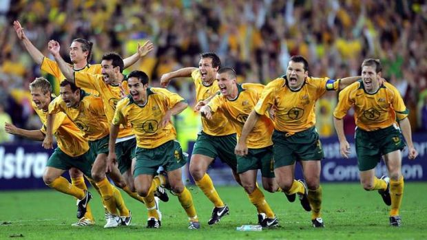 That night: The Socceroos celebrate qualifying for the 2006 World Cup.