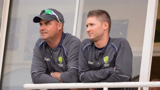 Grim viewing: Australia coach Mickey Arthur and captain Michael Clarke look on.