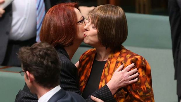 Prime Minister Julia Gillard farewells former Labor minister Nicola Roxon after she gave her valedictory speech.