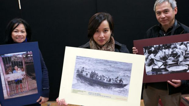From left: Former Vietnamese refugees Chi Hoang, Alisha Fernando and Nhan Nguyen.