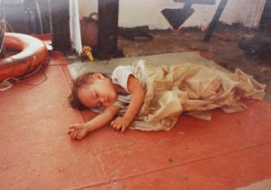 Alisha Fernando as she was found aged two in 1982 during her family's flight across the South China Sea. She is now a ...