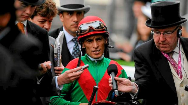 Animal Kingdom's jockey  John Velazquez speaks to the media after the Australian-owned stallion's flop in the Queen Anne ...