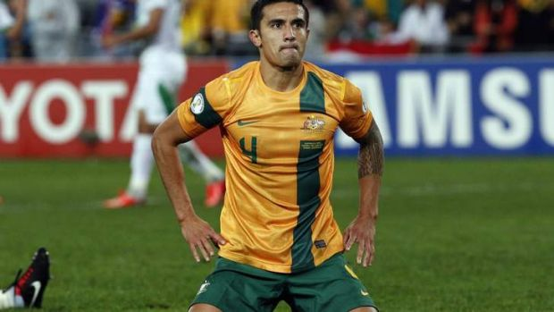 Frustrating night: Tim Cahill reacts after missing a chance.