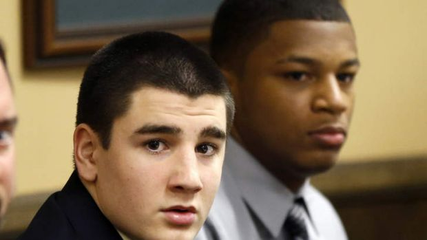 Trent Mays, left, and Ma'lik Richmond before the start of their trial on rape charges in juvenile court in Steubenville, ...