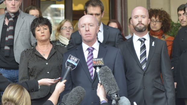 Jill Meagher's father, George McKeon, makes a statement surrounded by family on the steps of the Supreme Court after the ...
