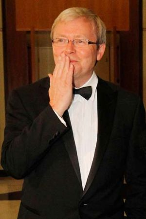 Then prime minister Kevin Rudd at the 2010 Midwinter Ball - a week before he was desposed as Labor leader.