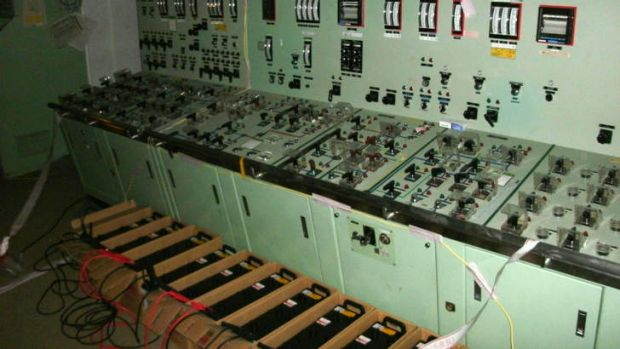 Power up … batteries were hooked up to temporarily power the reactor's control panel.