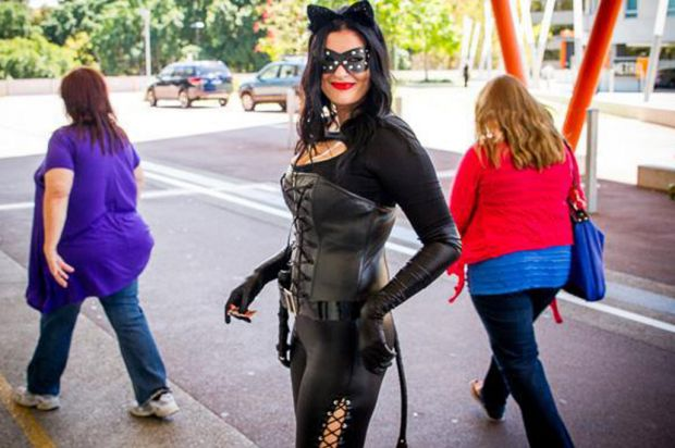 The Power Puff girls were a bit dejected when this awesome looking Catwoman showed up to the party.