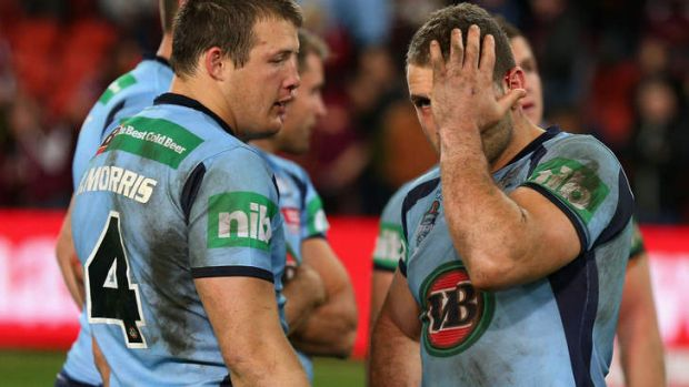 Unhappy hunting ground: Josh Morris and Robbie Farah of the Blues after losing game three of the 2012 State of Origin ...