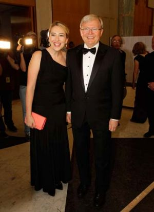 Kevin Rudd and his daughter Jessica arrive at the Press Gallery Midwinter Ball last month.