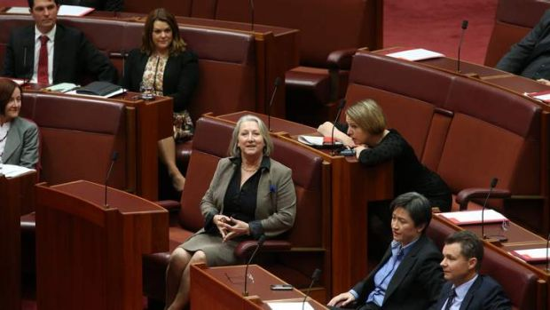 Liberal Senator Sue Boyce sits with ALP Senator Louise Pratt to vote in favour of recognising  international same sex ...