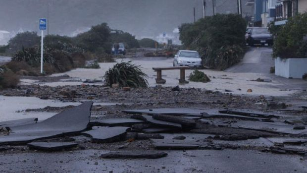 Storm damage to the Esplanade on Wellington's south coast. photo: PHIL REID/Fairfax NZ
