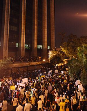 Protesters gather in front of the City Hall in Rio de Janeiro.