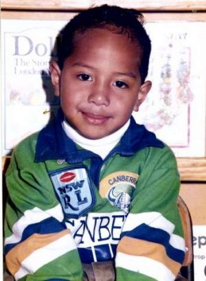 Sami Sauiluma in his Raiders jersey as a kid.