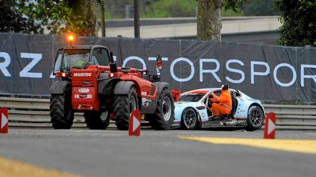 The crashed No.95 Aston Martin Vantage GTE.