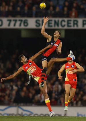 On the field: Essendon posted an easy win over Gold Coast in round 12 with the help of ruckman Paddy Ryder.
