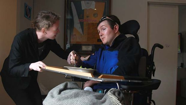 Felt isolated: Jock Watson, with his cousin Libby Hogan, now lives among people his own age.