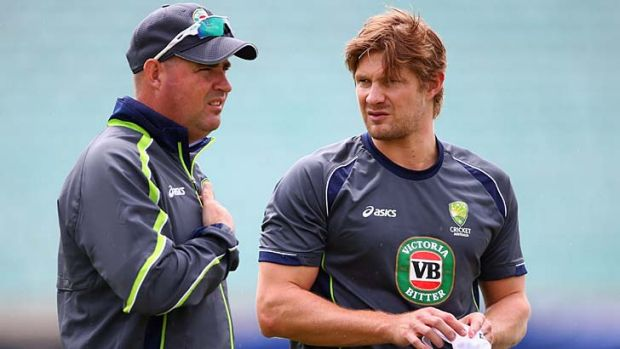 Shane Watson, right, and Mickey Arthur.