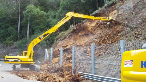 Roads and Maritime Services said there was a small land slip near on the Kings Highway near Pooh Corner.