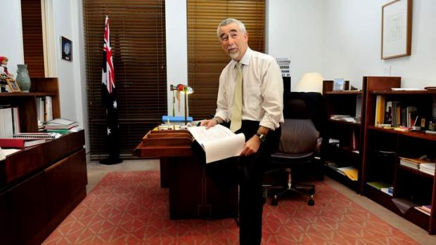 Gary Humphries in his Parliamentary office ahead of his valedictory speech tomorrow.