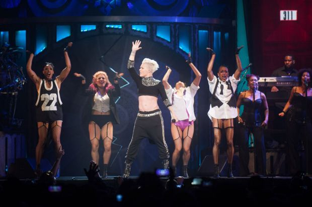 Pink performing live at Perth Arena 2013.
