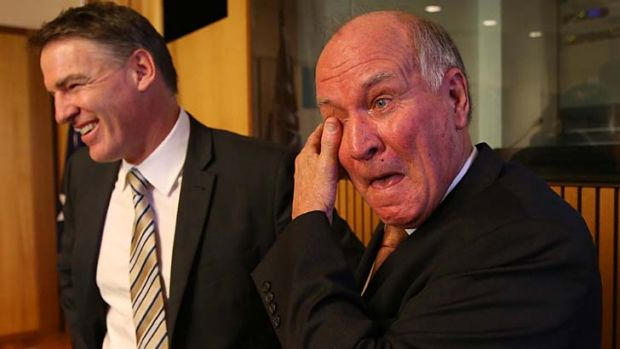 Calling it quits: An emotional Tony Windsor stands with Rob Oakeshott after announcing he will not recontest the next ...