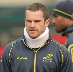 Pat McCabe looks on during an Australian Wallabies training session at Visy Park on June 24.