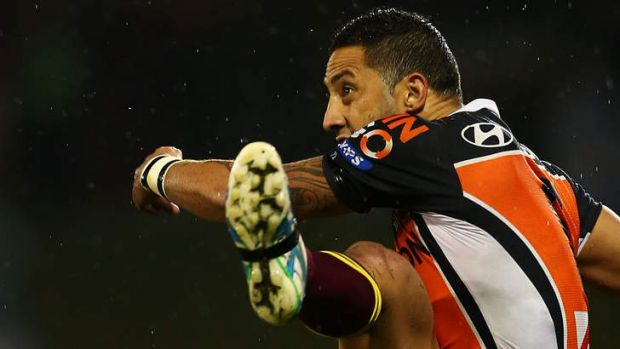 Under pressure: Wests Tigers playmaker Benji Marshall.