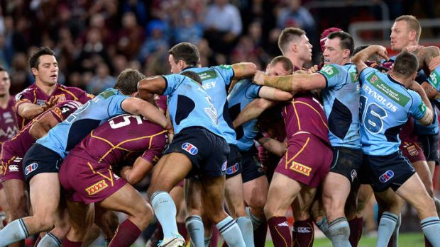 Four players were sent to the sin bin after this all-in brawl.