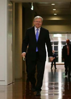 Kevin Rudd arrives for the caucus ballot.