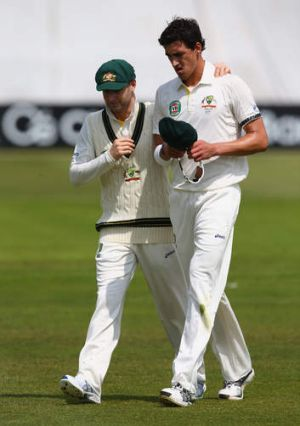 New regime: Michael Clarke and Mitchell Starc.