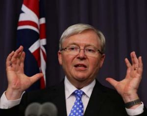"""""""The China resources boom is over"""": Kevin Rudd on Wednesday night."""