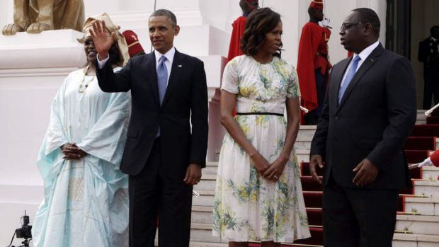 Welcomed: US President Barack Obama and his wife Michelle with the Senegalese President Macky Sall, right, and his ...