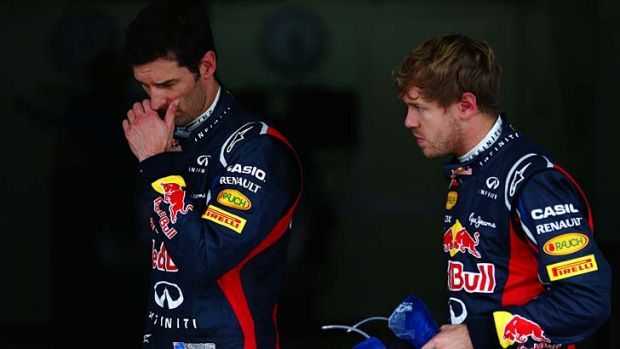 Strained relationship: Mark Webber, left, and Sebastian Vettel.