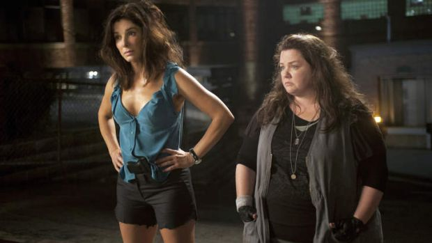 Juggling motherhood with living on set ... Sandra Bullock and Melissa McCarthy in the film <i>The Heat</i>.