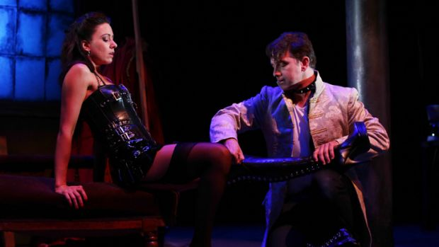 Getting the boot... Libby Munro and Todd MacDonald in the Australian premiere of <i>Venus in Fur</i> by the Queensland ...